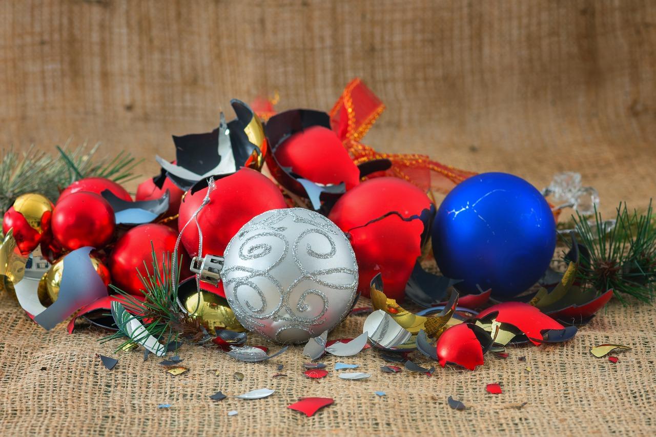 broken christmas baubles